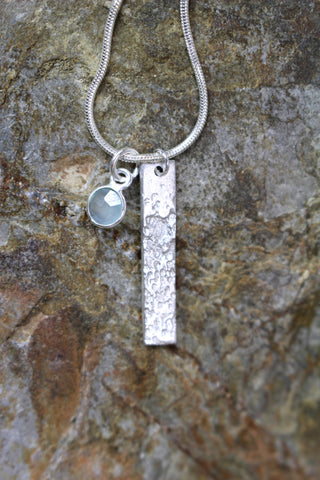 'Waters Edge Collection' Tall Pendant in Fine Silver with Sea Green Chalcedony Stone