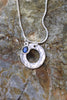 Hand-Hammered Circle Pendant in Fine Silver with Labradorite Stone