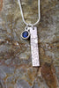 'Waters Edge Collection' Tall Pendant in Fine Silver with Labradorite Stone