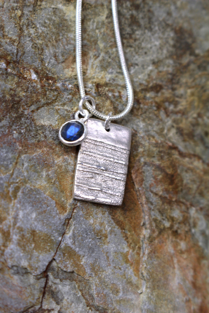 'Moonlight Collection' Block Pendant in Fine Silver with Labradorite Stone