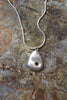 'Contemporary Pebble Pendant' in Fine Silver with Gold Accent