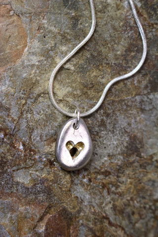 'Heart Pebble Pendant' in Fine Silver with Gold Accent