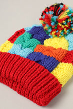 Color Block Knit Beanie with Pom