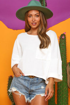 White Wide Sleeve Waffle Top