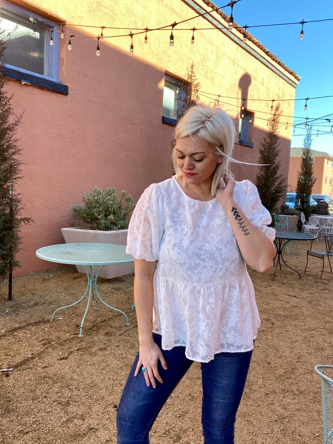 White Puff Sleeve Jacquard Blouse