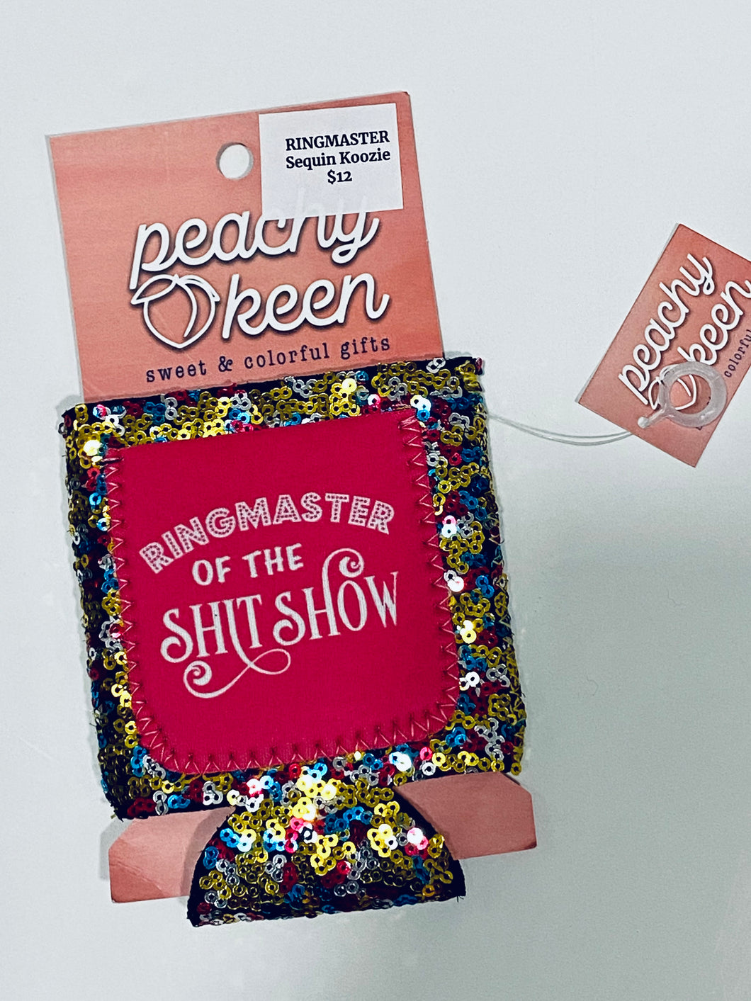 Ringmaster of the Shit Show Sequin Koozie