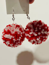 Red & White Pom Pom Earrings