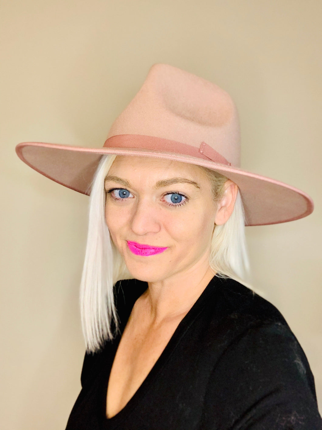 Blush Wool Felt Hat - Milo & Lily Boutique