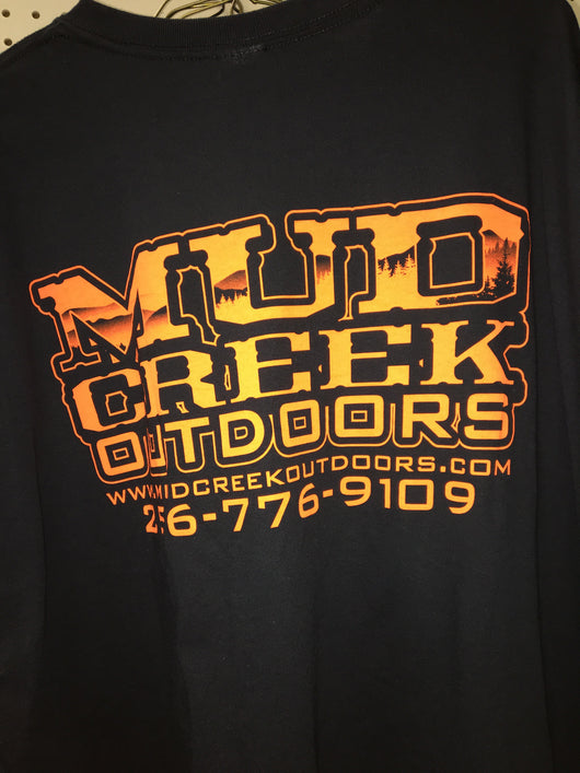 Mud Creek Outdoors T-Shirt Orange on Black - Mud Creek Outdoors