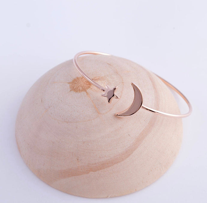 Rose Gold Star and Moon Cuff Bracelet