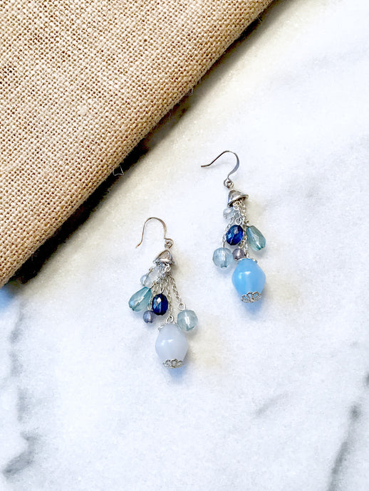 Mixed Blue Dangle Earrings