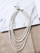 Five Strand White Pearl Long Necklace