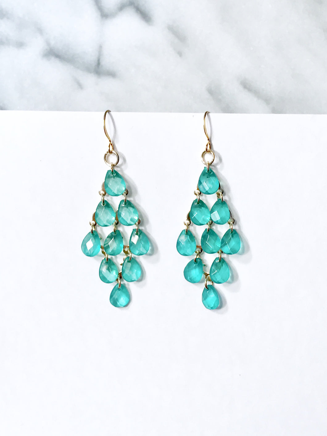 Green 18K Gold Dangle Earrings