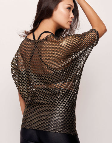 Fishnet Gold Metallic Stretch Mesh Pullover Top