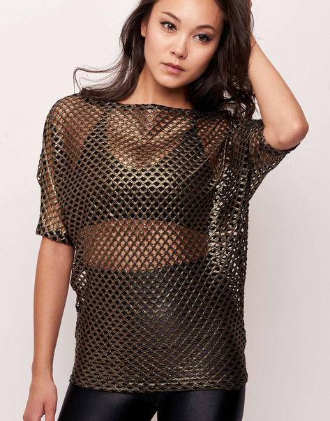 Alex Fishnet Gold Metallic Stretch Mesh Pullover Top