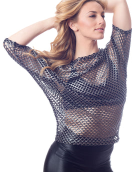 Alex Stretch Fishnet Pullover Top in Metallic Pewter