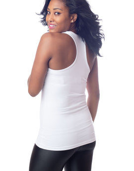 White Racer Back Long Stretch Workout Tank