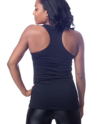 Black Long Stretch Racer Back Workout Tank Top
