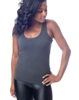 Charcoal Grey Long Stretch Racer Back Workout Tank Top