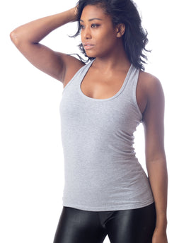 Heather Grey Racer Back Long Stretch Workout Tank