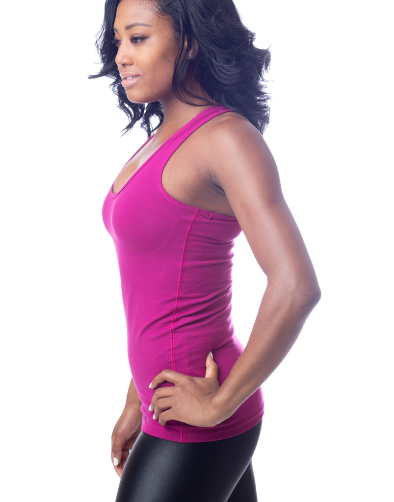 Raspberry Pink Fuschia Racer Back Long Stretch Workout Tank