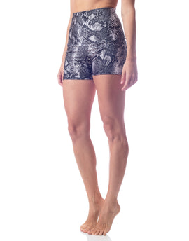 Black and cream snakeskin high waist workout short