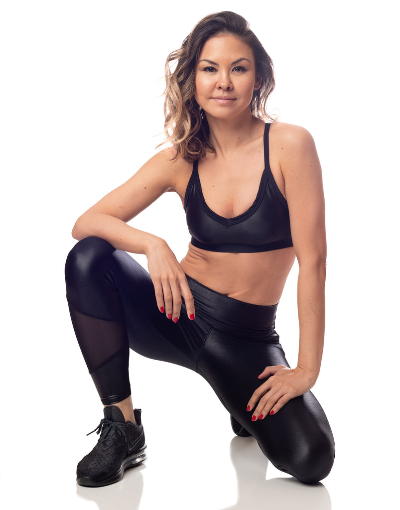 lustrous shiny black sports bralette