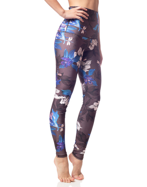 floral blue orchid print workout legging