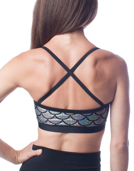 Brilliance Silver Mermaid Fish Scale High Performance Sports Bra