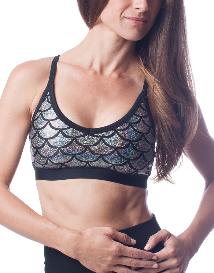 Brilliance Silver Mermaid Fish Scale Sports Bra