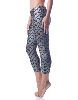Brilliance Silver Mermaid Fish Scale Sparkly High Waisted Capri