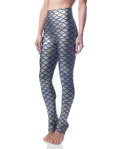 Silver Mermaid Fish Scale High Waisted Legging