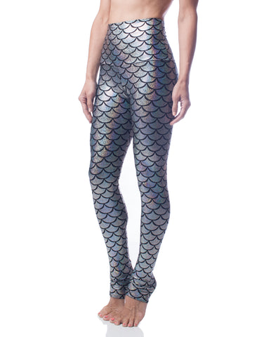 Brilliance Silver Mermaid Fish Scale High Waist Stretch Performance Legging
