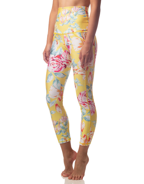 Canary Blooms Yellow Floral High Waisted Legging