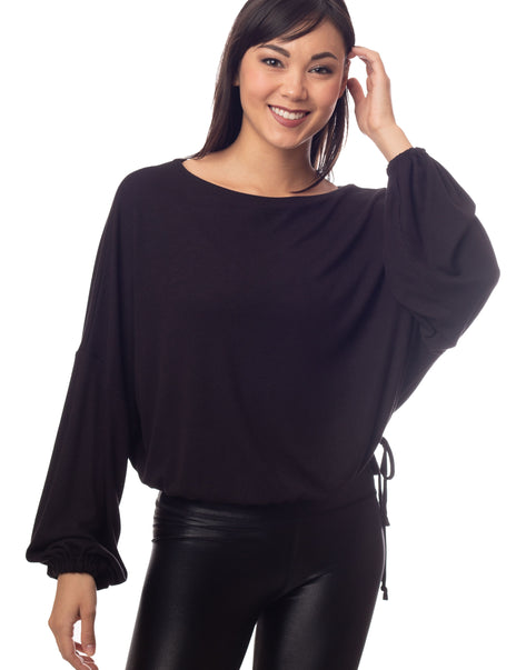 Cassidy Ribbed Knit Black Gathered Bell Sleeve Top