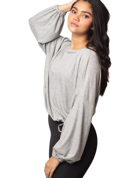 Cassidy heather grey ribbed knit bell sleeve top