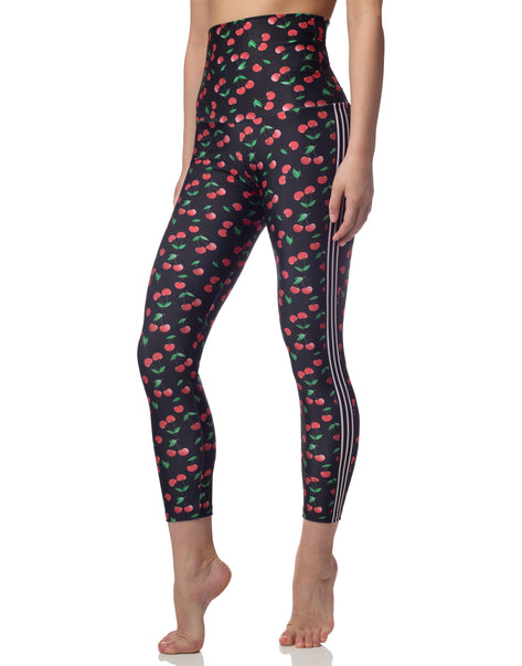 Cherries Print Black High Waisted Legging With Stripe