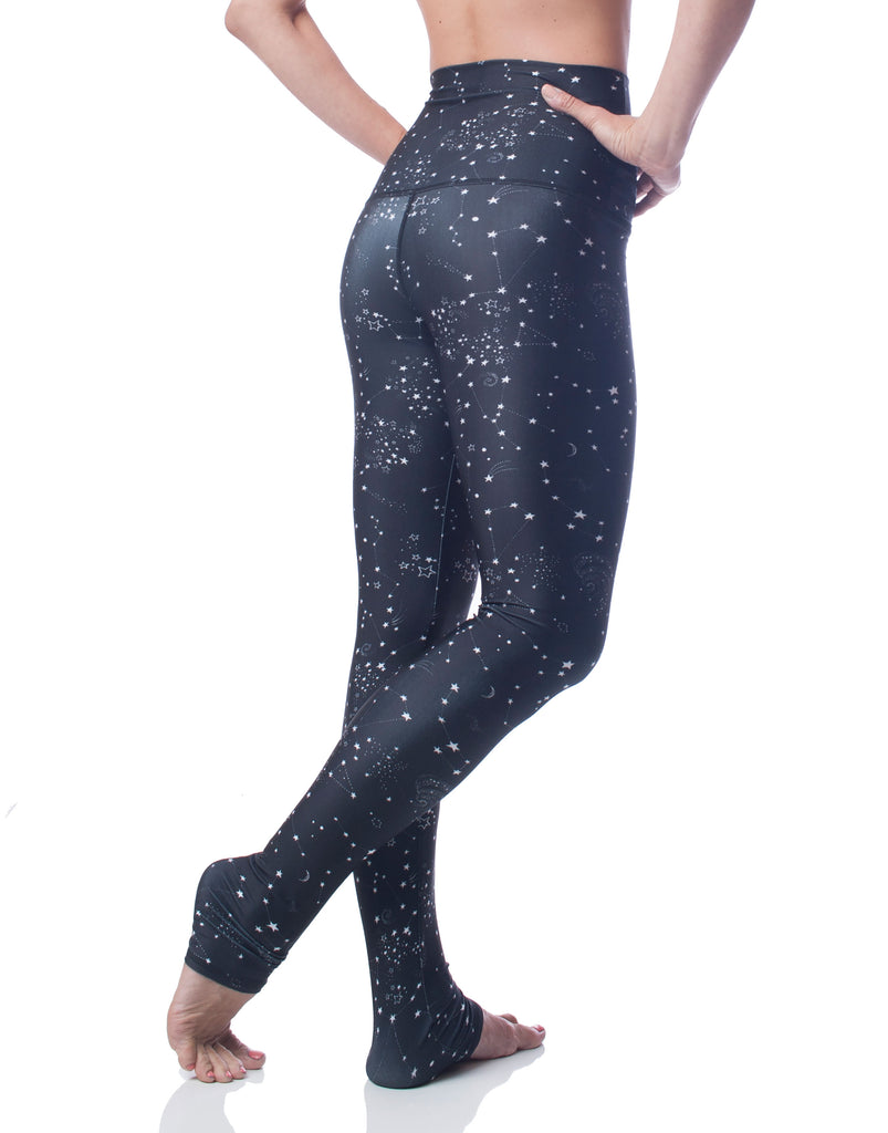824026da1ba326 black white star constellation high waist stretch workout legging