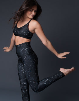 Constellation Black And White Stars Print Sports Bra Bralette