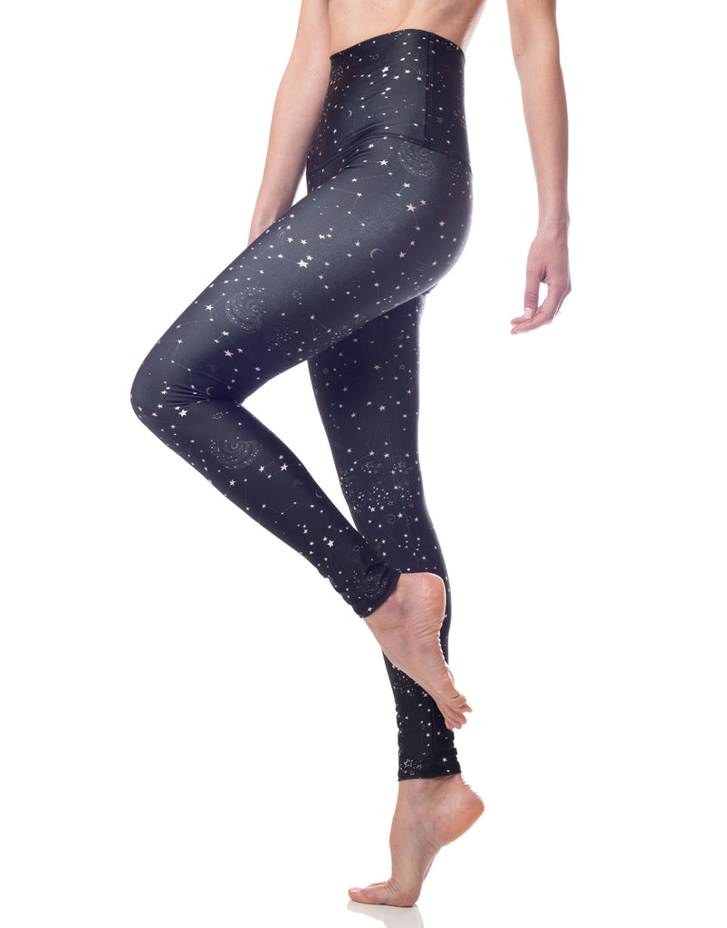 black and white constellation star print high waisted legging