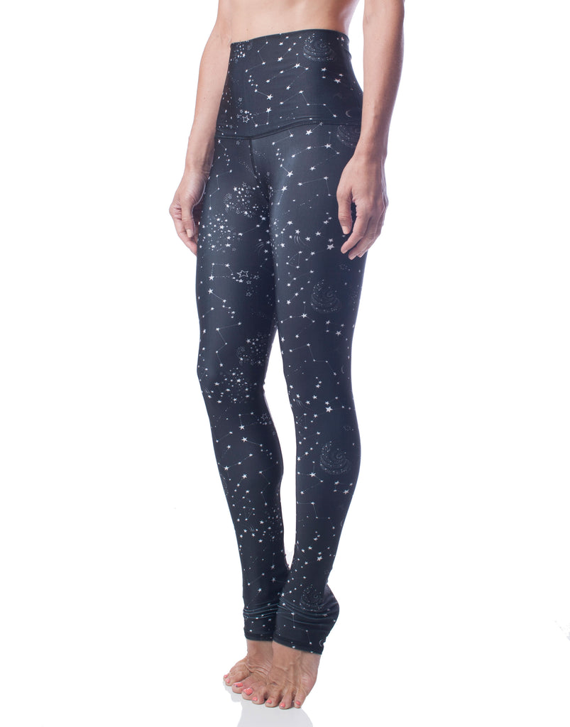 black white star constellation high waist stretch workout legging