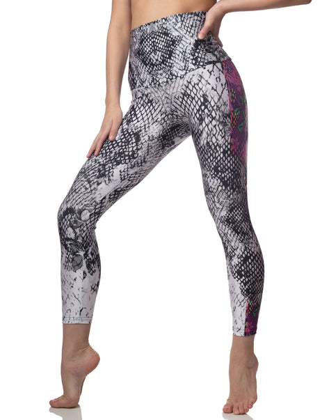 Dolce Black White Snake Print High Waisted Legging