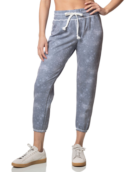Dream faded blue star print cropped jogger sweatpant