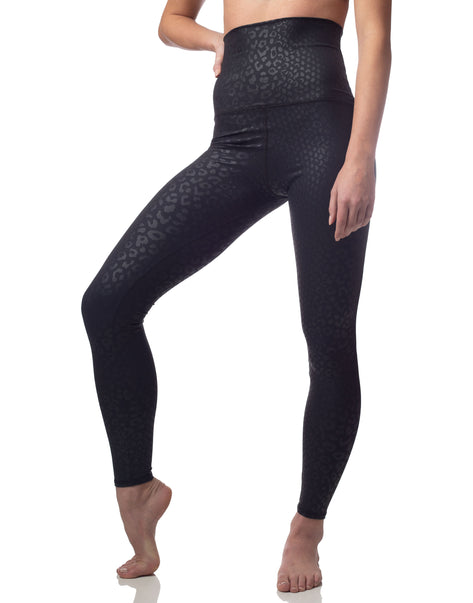 Embossed Leopard Legging Black