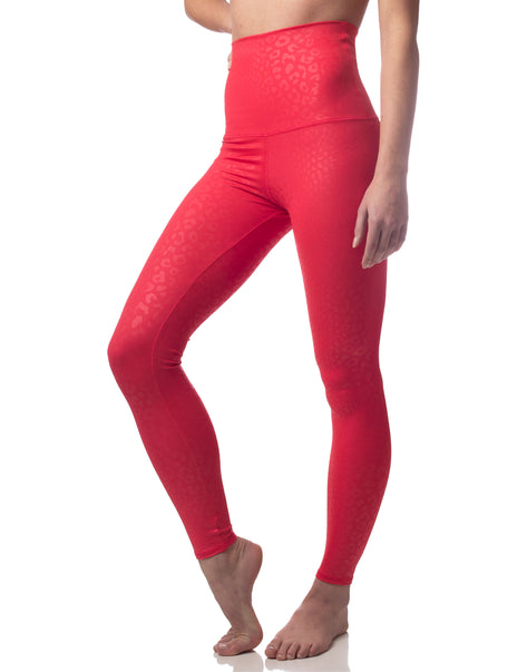 Embossed Leopard Legging Ruby