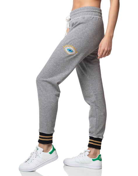 Evil eye heather grey cuffed jogger sweatpant