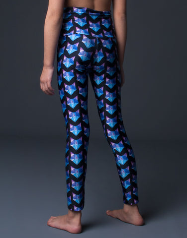 blue purple foxes printed girl's high waist stretch legging