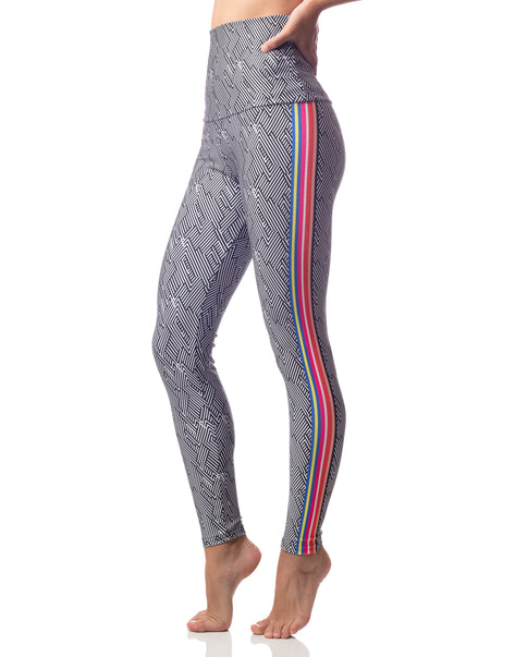 black white print high waist legging with colorful stripe