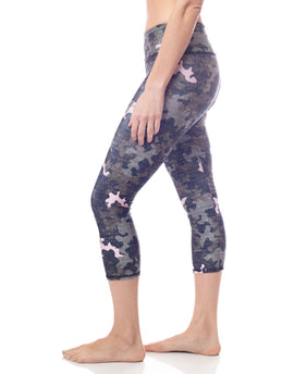 distressed army green and pink camouflage high waist stretch performance workout capri