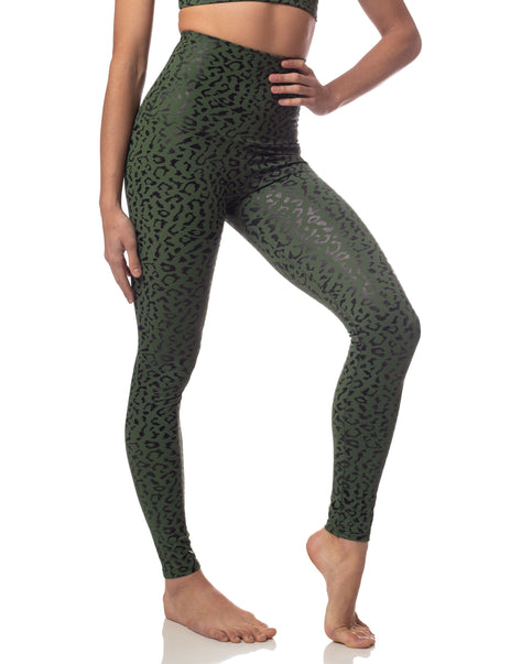Leopard Foil Legging Army Green